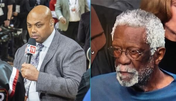 Photos of Charles Barkley and Bill Russell.