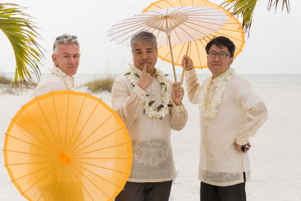 Anitra Pavka and Joey deVilla's wedding photo — Joey flanked groomsmen Eldon Brown and Richard Choi.