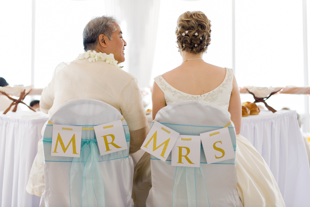 Anitra Pavka and Joey deVilla's wedding photo — Joey and Anitra sitting in seats labelled 'MR' and 'MRS'.
