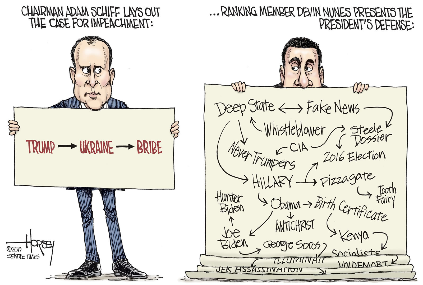 Editorial cartoon comparing Adam Schiff's case for impeachment (Trump - Ukraine - Bribe) vs. Devin Nunes' defense of Trump, which cites multiple conspiracy theories including the Deep State, Fake News, the CIA, Hillary Clinton, Pizzagate, George Soros, and so on.