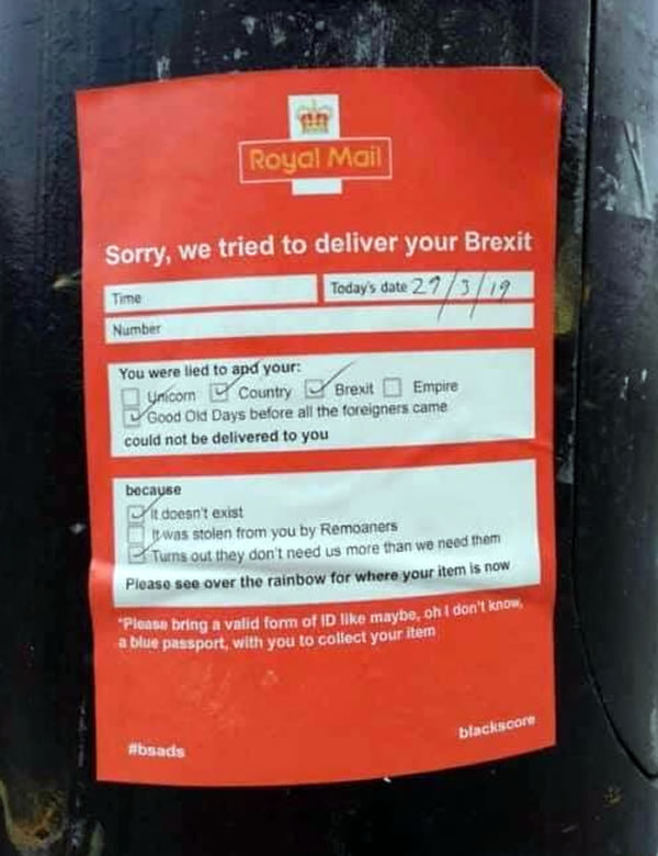 """Royal Mail """"Sorry, we tried to deliver your Brexit"""" door knocker"""