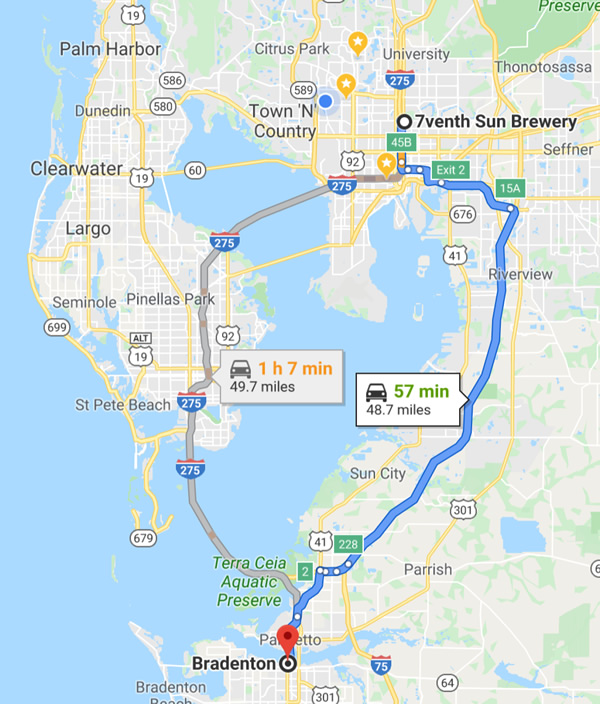 Map: Distance between 7venth Sun Brewery in Tampa and Bradenton, Florida (57 minutes, 48.7 miles)