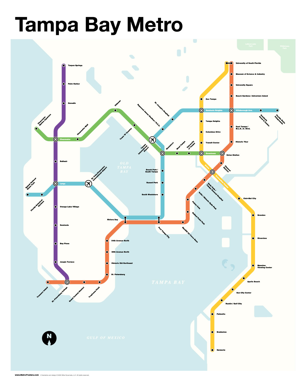 'Tampa Bay Metro': A map of a hypothetical metro system for Tampa Bay, done in the style of New York's Metro map.