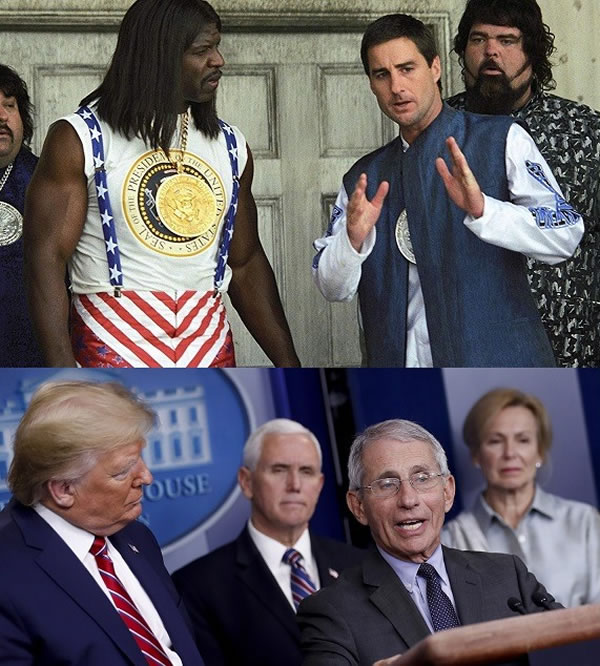 "Two photos: 1. Still from ""Idiocracy"" with Joe Bauers (Luke Wilson) explaining something to President Camacho (Terry Crews). 2. Photo of White House press conference with Dr. Anthony Fauci explaining something as Trump looks on."