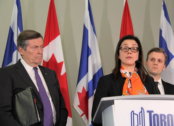 Toronto Mayor John Tory and Toronto Medical Officer for Health Eileen deVilla give a Toronto news conference