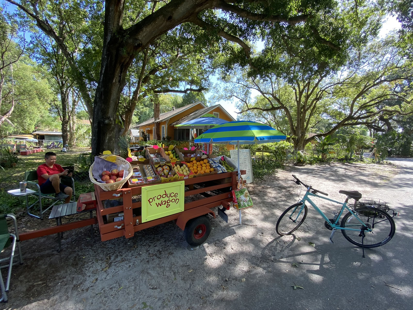 Wide-angle photo of the Produce Wagon from its left side, with Fabiola in a lawn chair behind the wagon, a large oak tree and house in the background, and Joey's light blue bicycle on the right.