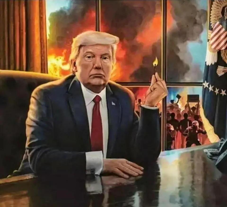 """Painting: """"Der Feuerteufel""""(The Fire Devil"""") - Trump sitting at his desk in the Oval Office holding a match, which in the window behind him, fires burn and riots take place outside."""