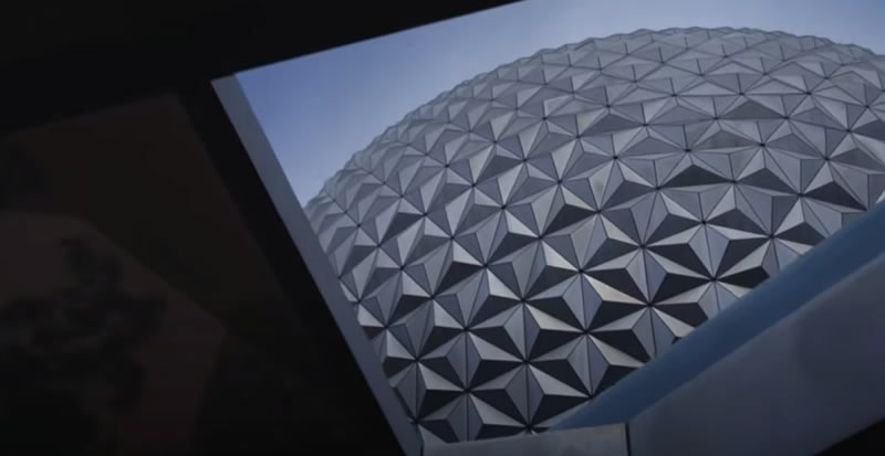 Photo: EPCOT dome, as seen through a nearby triangular window.