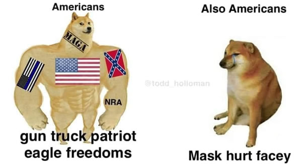 "Photo: Strong doge - ""Americans: gun truck patriot eagle freedoms"" / Weak doge: ""Also Americans: Mask hurt facey"""