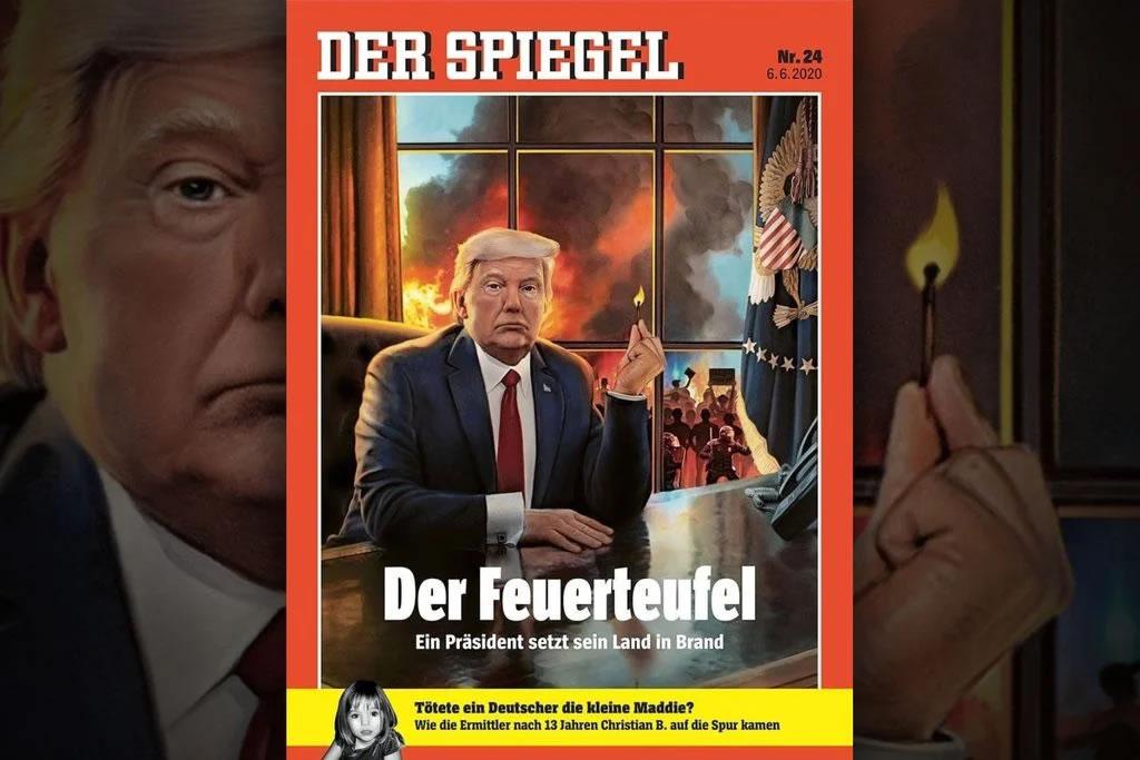 "Magazine cover: June 2020 edition of Der Spiegel, featuring ""Der Feuerteufel"" on the cover."