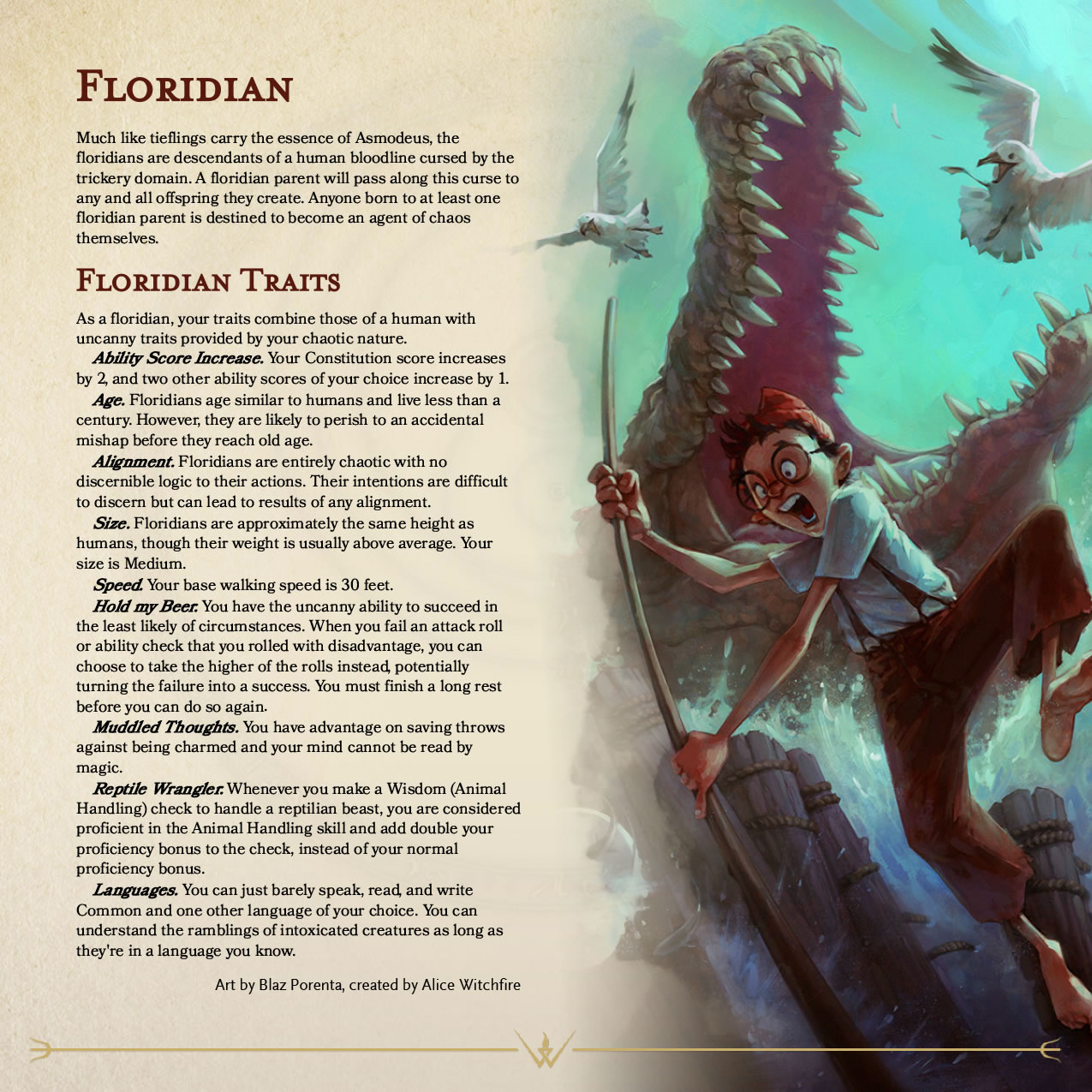 "Photo: ""Floridian"" as described in a Dungeons and Dragons Player's Handbook."