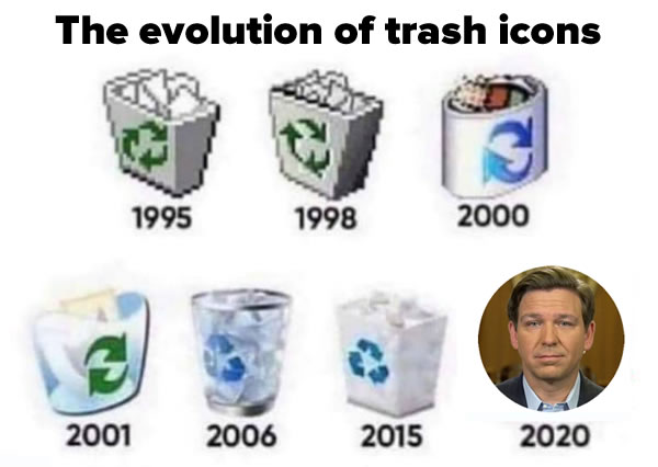 """Graphic: """"Trash""""icons from windows of the years, with Florida Governor Ron DeSantis as the 2020 icon."""