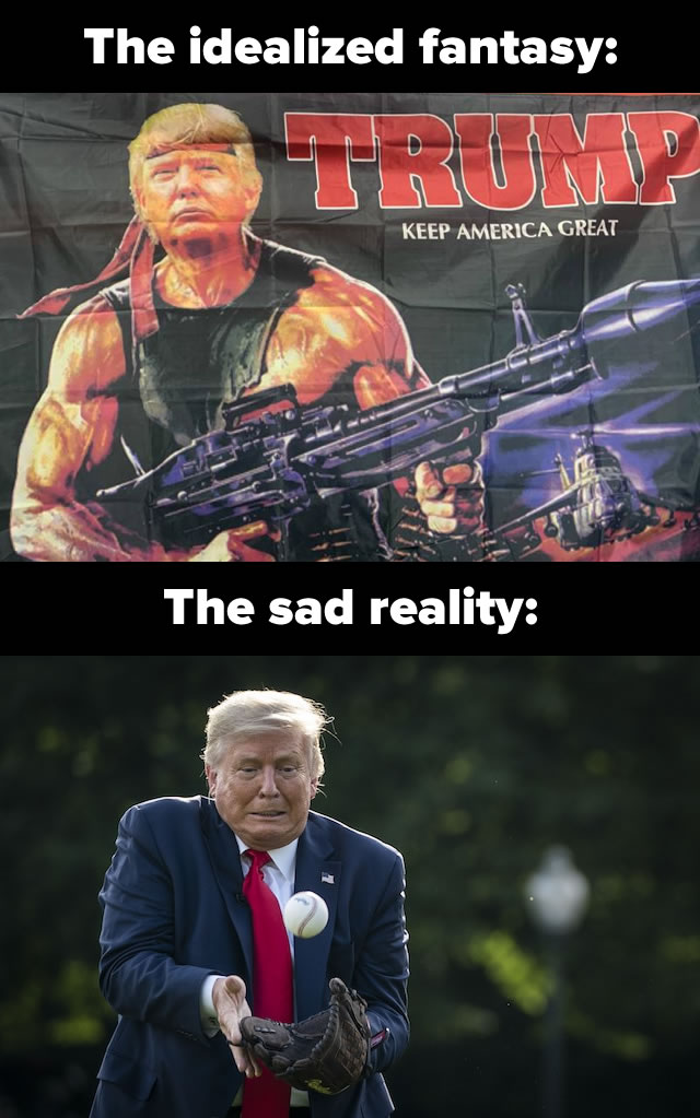"Photo: ""The idealized fantasy"" - A flag picturing Trump as Rambo. ""The sad reality"" - Trump looking very awkward catching a very easy fly ball."