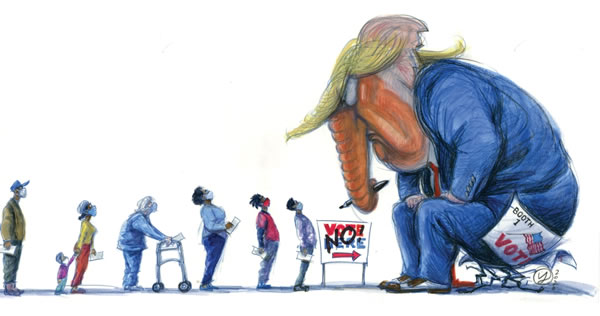 Illustration: Line of voters -- people of color, older people, and women -- facing a giant Trump-elephant hybrid creature blocking their access to a polling booth. (Illustration by Victor Juhasz for Rolling Stone.)