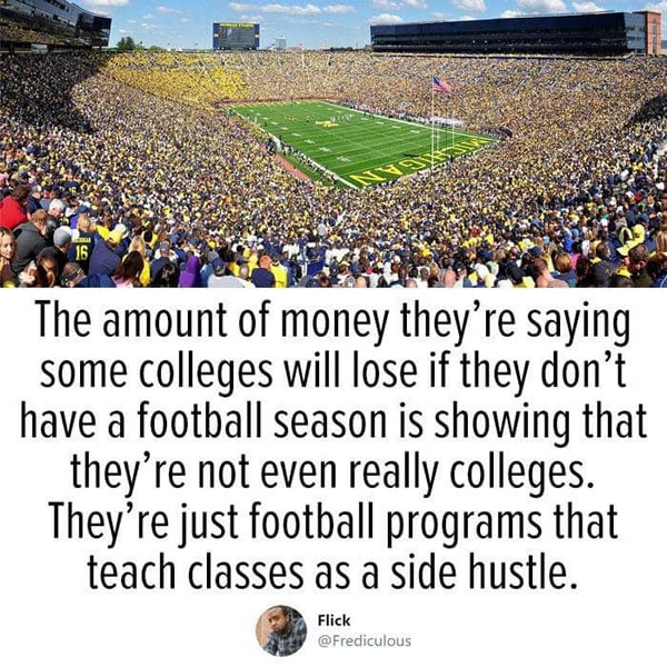 "Photo of packed University of Michigan football stadium above Tweet by ""@Frediculous"": ""The amount of money they're saying some colleges will lose if they don't have a football season is showing that they're not even really colleges. They're just football programs that teach classes as a side hustle."""