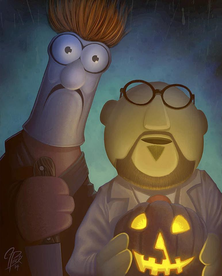 "Painting: Beeker and Dr. Bunsen Honeydew as Michael Myers and Dr. Loomis (Jason Beck's ""Muppet Maniacs"" series)"