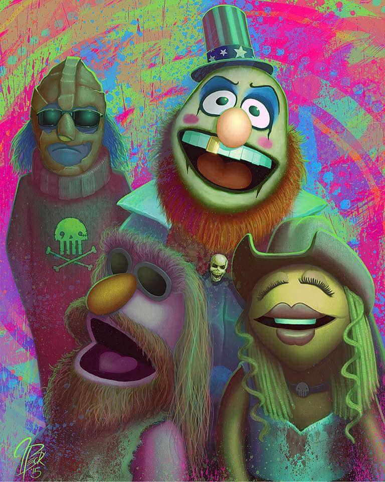 "Painting: Dr. Teeth and the Electric Mayhem as the Devil's Rejects (Jason Beck's ""Muppet Maniacs"" series)"