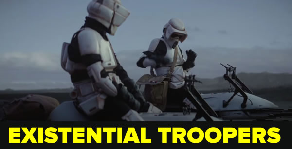 "Photo: Still from ""Existential Troopers"" — The speeder bike troopers from ""The Mandalorian"", in the scene where one of them punches Baby Yoda"