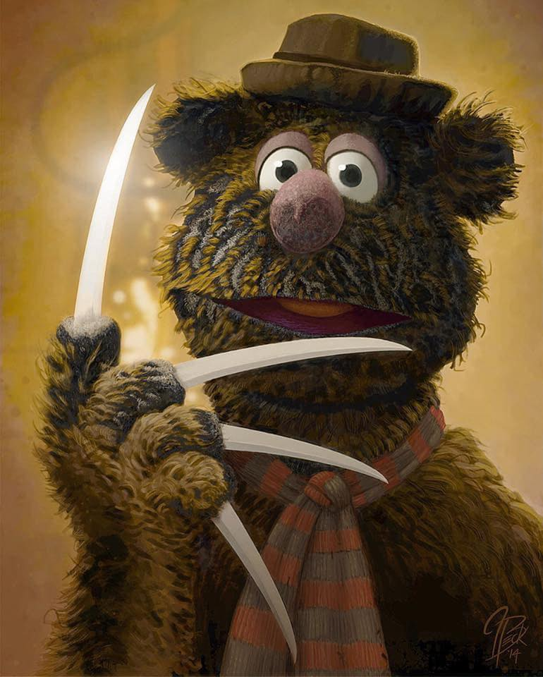 "Painting: Fozzie Bear as Freddie Kruger (Jason Beck's ""Muppet Maniacs"" series)"