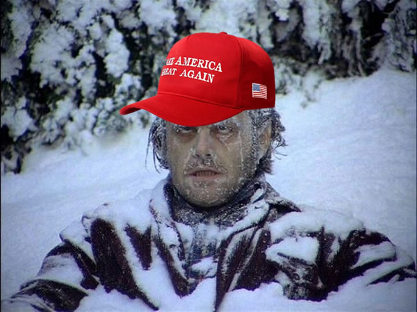 "Photo: Jack from ""The Shining"", frozen, wearing a ""Make America Great Again"" cap."