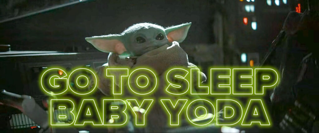 "Photo: ""Go to sleep Baby Yoda"" — ""The Child"" in the Mandalorian's cockpit."
