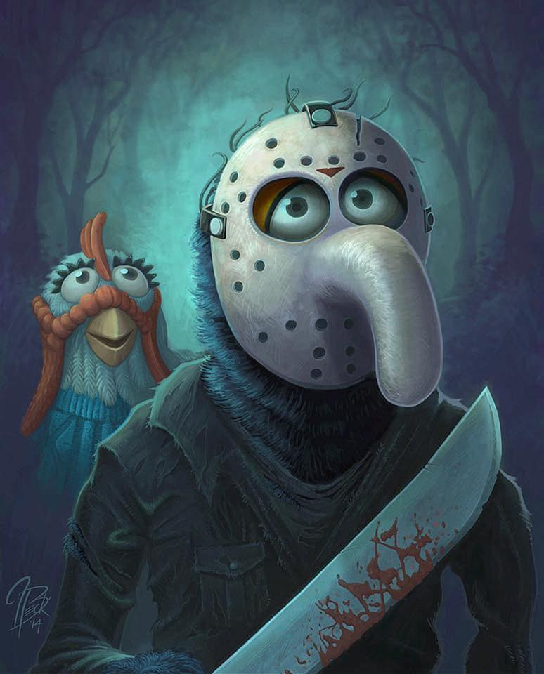 "Painting: Gonzo as Jason Voorhees and Camilla the chicken as Pamela Voorhees (Jason Beck's ""Muppet Maniacs"" series)"