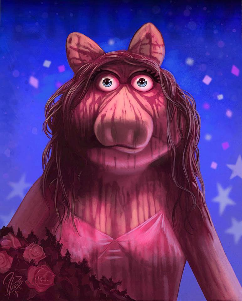 "Painting: Miss Piggy as Carrie (Jason Beck's ""Muppet Maniacs"" series)"