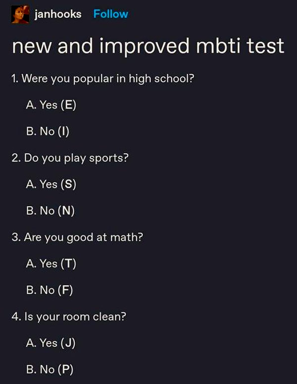 """Screenshot: """"New and improved MBTI test"""" by janhooks —the only Myers-Briggs personality test that matters"""