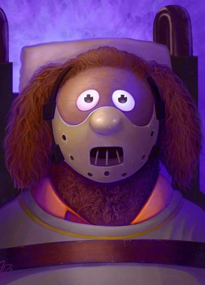 "Painting: Rowlf as Dr. Hannibal Lecter (Jason Beck's ""Muppet Maniacs"" series)"
