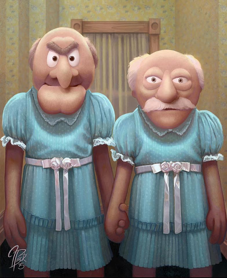 "Painting: Statler and Waldorf as the Grady Twins from ""The Shining"" (Jason Beck's ""Muppet Maniacs"" series)"