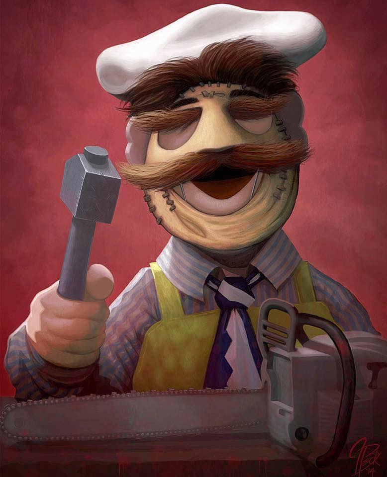 "Painting: Swedish Chef as Leatherface (Jason Beck's ""Muppet Maniacs"" series)"