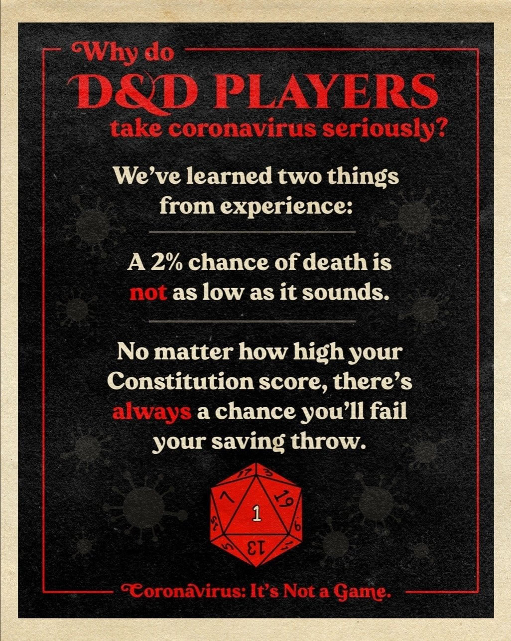 "Meme: ""Why do D&D players take coronavirus seriously? We've learned two things from experience: A 2% chance of death is NOT as low as it sounds, and no matter how high your constitution score, there's ALWAYS a chance you'll fail your saving throw."""