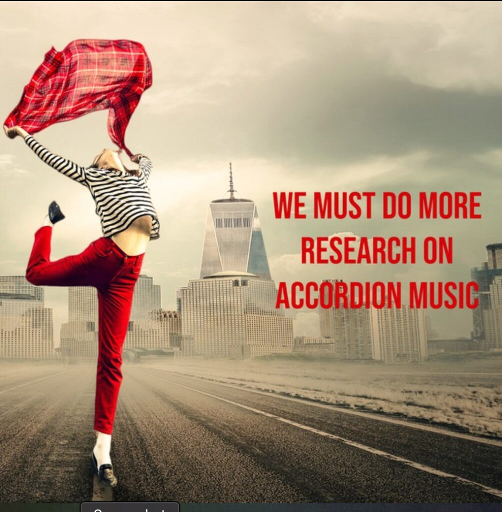 """Photo: """"We must do more research on accordion music"""" —featuring woman in red dancing in the street"""