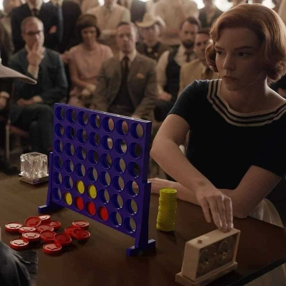 """Photo: """"Beth"""" from """"The Queen's Gambit"""" playing Connect Four instead of chess."""