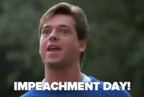 """Still photo from the film """"Silent Night Deadly Night Part 2"""", where Ricky says """"Garbage Day!"""", but subtitled """"IMPEACHMENT DAY!"""""""