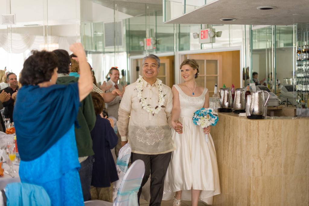 Joey deVilla and Anitra Pavka make their entrance at their wedding reception.