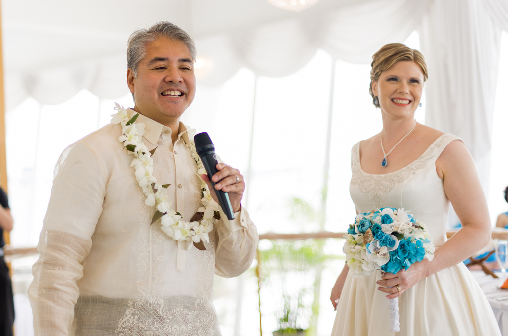 Joey deVilla and Anitra Pavka welcome the guests to their wedding reception.