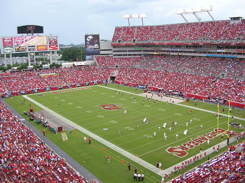 The football field at Raymond James Stadium, Tampa