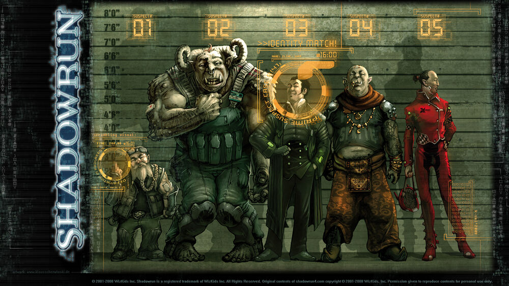 Shadowrun characters in a cyberpunk suspect lineup