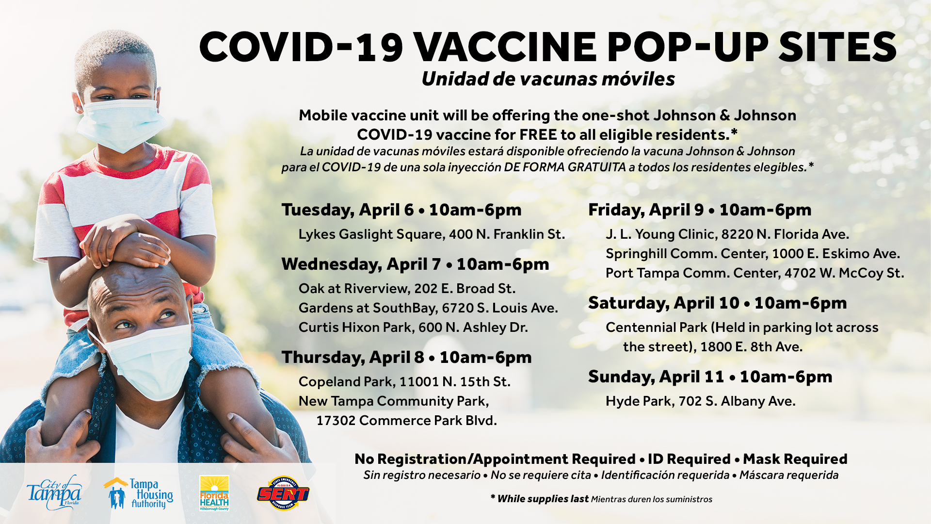 Poster showing COVID-19 vaccine pop-up sites for Tuesday, April 6, 2021 through Sunday, April 11, 2021