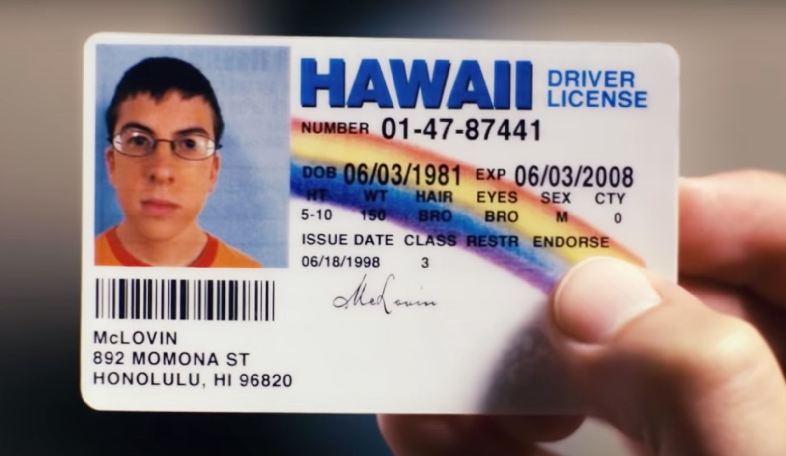 """""""McLovin's"""" Hawaii driver's license, which indicates that his birthdate is June 3, 1981."""